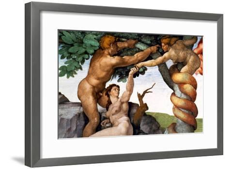 The Sistine Chapel; Ceiling Frescos after Restoration, Original Sin-Michelangelo Buonarroti-Framed Art Print