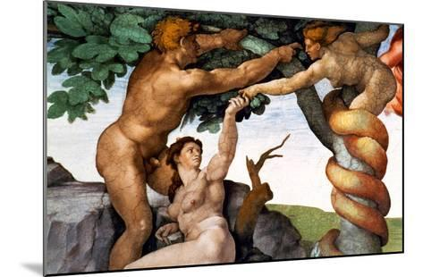 The Sistine Chapel; Ceiling Frescos after Restoration, Original Sin-Michelangelo Buonarroti-Mounted Giclee Print