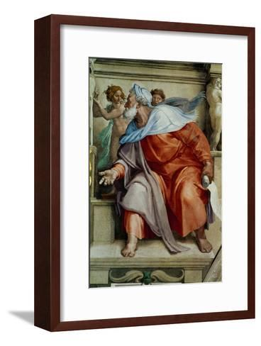 The Sistine Chapel; Ceiling Frescos after Restoration, the Prophet Ezekiel-Michelangelo Buonarroti-Framed Art Print