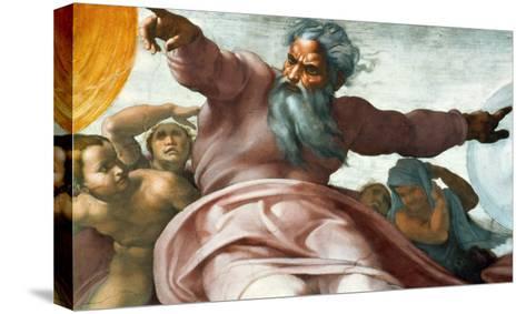 The Sistine Chapel; Ceiling Frescos after Restoration-Michelangelo Buonarroti-Stretched Canvas Print