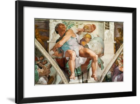 The Sistine Chapel; Ceiling Frescos after Restoration, the Prophet Jonah-Michelangelo Buonarroti-Framed Art Print