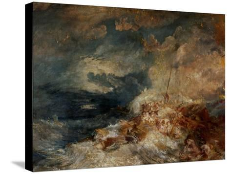 Fire Aboard Ship-J^ M^ W^ Turner-Stretched Canvas Print