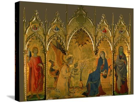 The Annunciation, Saints Asano and Margaret, Prophets Jeremiah, Ezechiel, Isaiah, and Daniel-Simone Martini-Stretched Canvas Print
