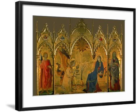 The Annunciation, Saints Asano and Margaret, Prophets Jeremiah, Ezechiel, Isaiah, and Daniel-Simone Martini-Framed Art Print