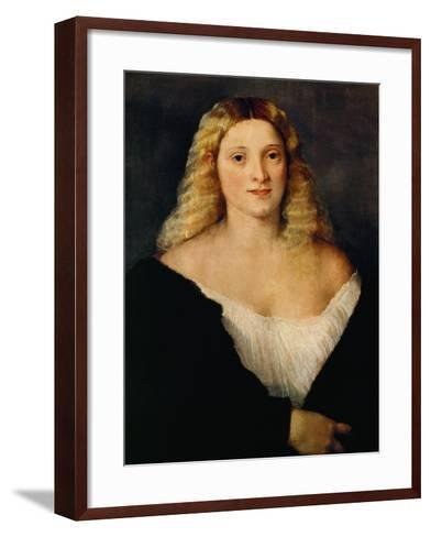 Young Woman in a Black Dress-Titian (Tiziano Vecelli)-Framed Art Print