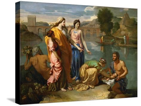 Moses Saved from the Floods of the Nile by the Pharaoh's Daughter-Nicolas Poussin-Stretched Canvas Print