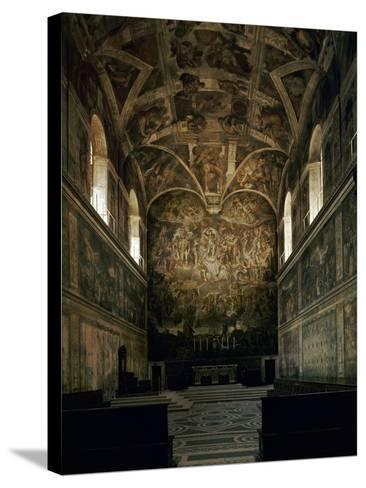 View of the Sistine Chapel Showing the Last Judgement and Part of the Ceiling (Before Restoration)-Michelangelo Buonarroti-Stretched Canvas Print