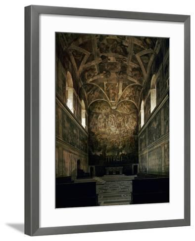 View of the Sistine Chapel Showing the Last Judgement and Part of the Ceiling (Before Restoration)-Michelangelo Buonarroti-Framed Art Print