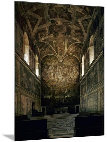 View of the Sistine Chapel Showing the Last Judgement and Part of the Ceiling (Before Restoration)-Michelangelo Buonarroti-Mounted Giclee Print