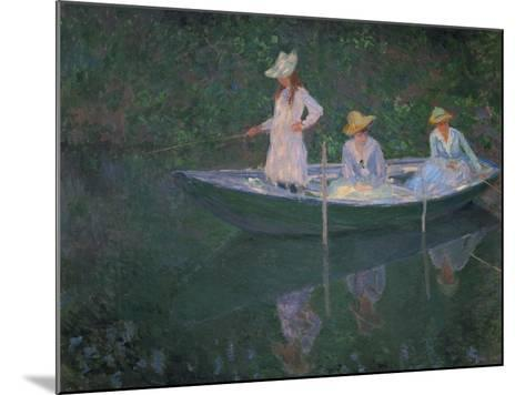 The Boat at Giverny (Or) the Norwegians, the Three Daughters of Mme. Hoschede-Claude Monet-Mounted Giclee Print
