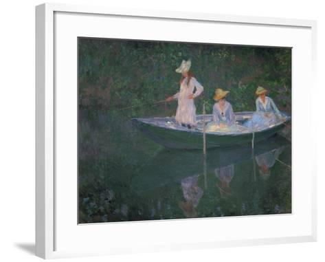 The Boat at Giverny (Or) the Norwegians, the Three Daughters of Mme. Hoschede-Claude Monet-Framed Art Print