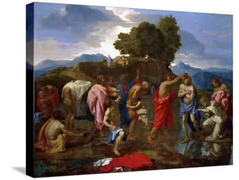 Baptism, Christ Baptized by Saint John-Nicolas Poussin-Stretched Canvas Print