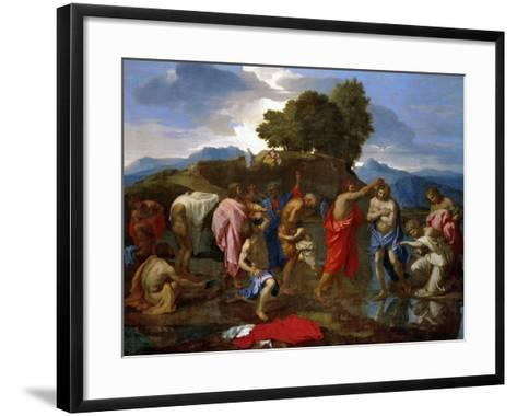 Baptism, Christ Baptized by Saint John-Nicolas Poussin-Framed Art Print