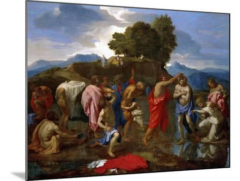 Baptism, Christ Baptized by Saint John-Nicolas Poussin-Mounted Giclee Print