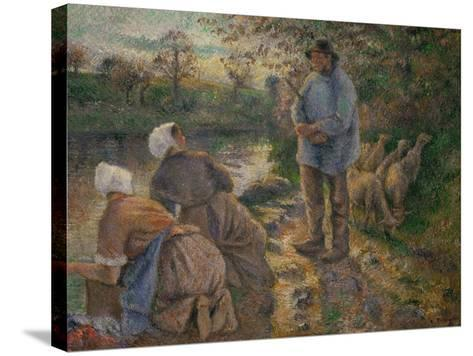Shepherd and Washerwomen, 1881-Camille Pissarro-Stretched Canvas Print
