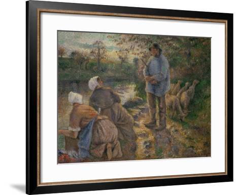 Shepherd and Washerwomen, 1881-Camille Pissarro-Framed Art Print
