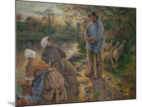 Shepherd and Washerwomen, 1881-Camille Pissarro-Mounted Giclee Print