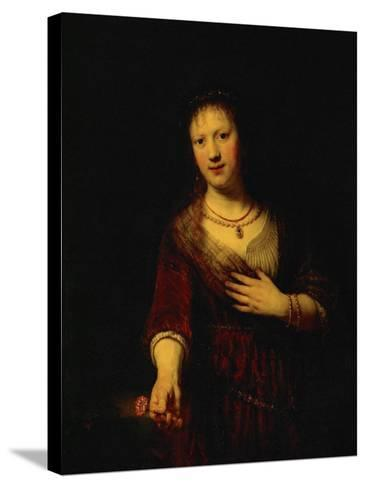 Saskia with a Red Flower-Rembrandt van Rijn-Stretched Canvas Print