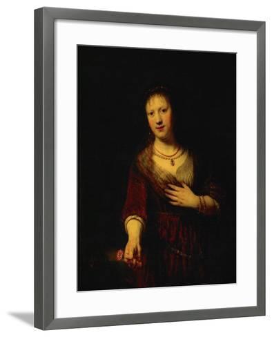 Saskia with a Red Flower-Rembrandt van Rijn-Framed Art Print