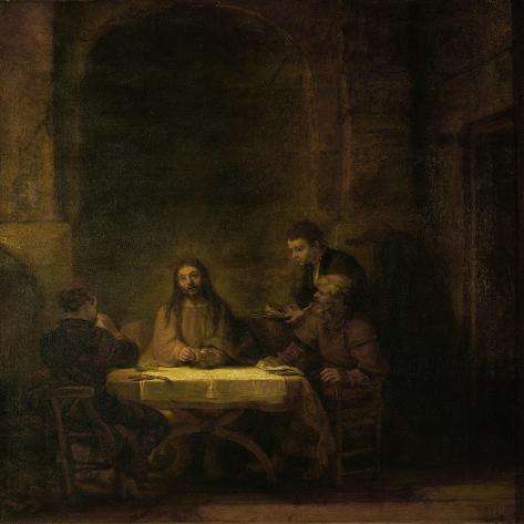 The Disciples at Emmaus, 1648-Rembrandt van Rijn-Stretched Canvas Print