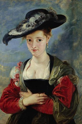 Portrait of Suzanne Fourment (Also Called The Straw Hat)-Peter Paul Rubens-Stretched Canvas Print