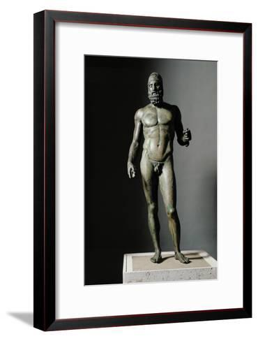 Riace Bronze (B), Bronze Statue of a Young Man with Helmet, More Than Life-Size, Found in 1972- Phidias-Framed Art Print