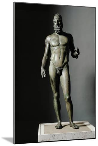 Riace Bronze (B), Bronze Statue of a Young Man with Helmet, More Than Life-Size, Found in 1972- Phidias-Mounted Giclee Print
