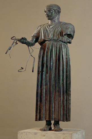 The Charioteer of Delphi, a Votive Offering from Polyzalos-Sotades-Stretched Canvas Print