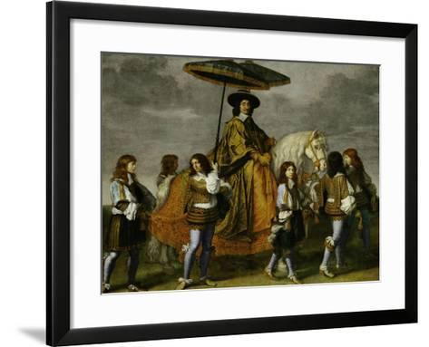 Chancellor Pierre Seguier on Horseback, Leading His Horse is the Young Louis XIV-Charles Le Brun-Framed Art Print