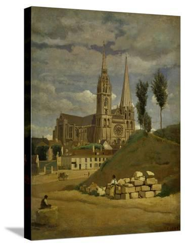 Chartres Cathedral, 1830-Jean-Baptiste-Camille Corot-Stretched Canvas Print