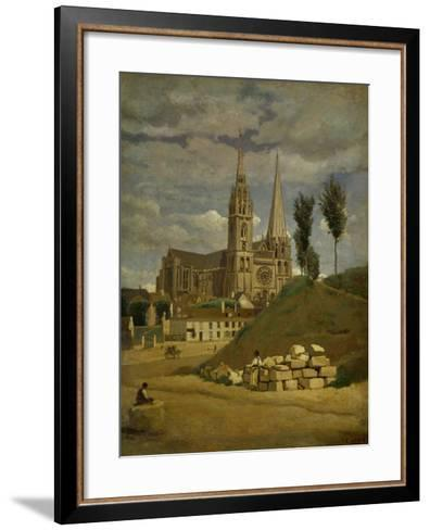Chartres Cathedral, 1830-Jean-Baptiste-Camille Corot-Framed Art Print