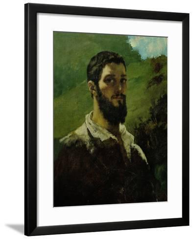 Self-Portrait, 1850-1853-Gustave Courbet-Framed Art Print