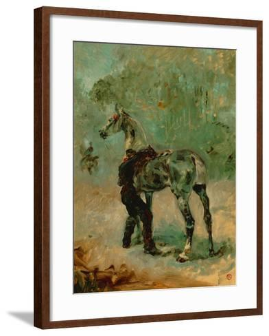 Artilleryman Saddling His Horse, 1878 or 1881-Henri de Toulouse-Lautrec-Framed Art Print