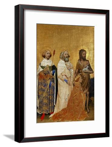 King Richard II (1367-1400) Kneeling in Front of King (Saint) Edmund and King Edward the Confessor--Framed Art Print