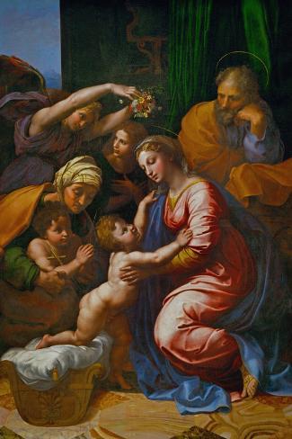 The Holy Family, Called La Grande Sainte Famille De Francois I, 1518-Raphael-Stretched Canvas Print