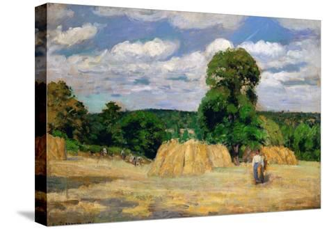 The Harvest, 1876-Camille Pissarro-Stretched Canvas Print
