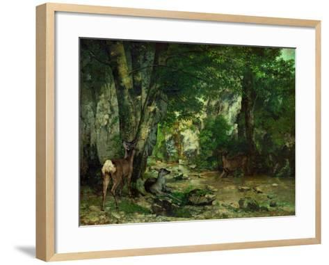 Deer Reserve at Plaisir Fontaine, 1866-Gustave Courbet-Framed Art Print