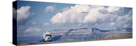 Truck on the Road, Interstate 70, Green River, Utah, USA--Stretched Canvas Print