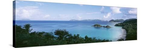 Island and a Beach, Trunk Bay, St. John, US Virgin Islands--Stretched Canvas Print
