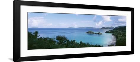 Island and a Beach, Trunk Bay, St. John, US Virgin Islands--Framed Art Print