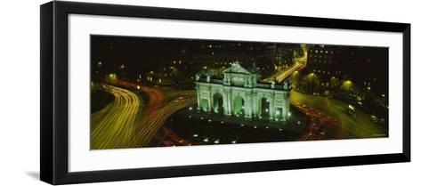 Monument Lit Up at Night, Puerta de Alcala, Plaza de la Independencia, Madrid, Spain--Framed Art Print