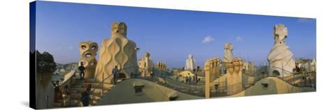 Chimneys on the Roof of a Building, Casa Mila, Barcelona, Catalonia, Spain--Stretched Canvas Print