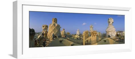 Chimneys on the Roof of a Building, Casa Mila, Barcelona, Catalonia, Spain--Framed Art Print