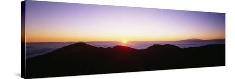 Silhouette of Mountains at Sunrise, Haleakala, Maui, Hawaii, USA--Stretched Canvas Print