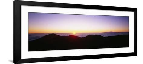 Silhouette of Mountains at Sunrise, Haleakala, Maui, Hawaii, USA--Framed Art Print