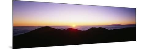 Silhouette of Mountains at Sunrise, Haleakala, Maui, Hawaii, USA--Mounted Photographic Print