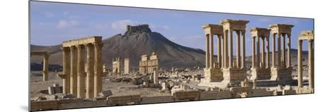 Colonnades on an Arid Landscape, Palmyra, Syria--Mounted Photographic Print