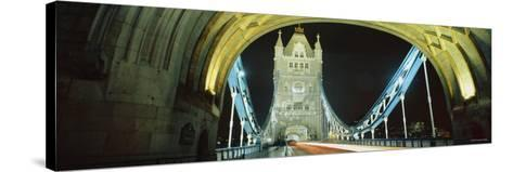 Bridge Lit Up at Night, Tower Bridge, London, England--Stretched Canvas Print
