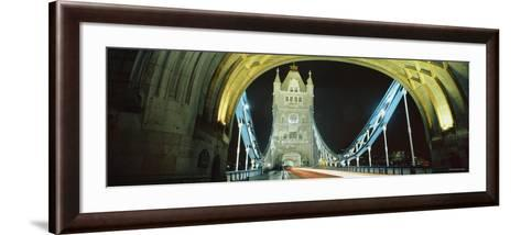 Bridge Lit Up at Night, Tower Bridge, London, England--Framed Art Print