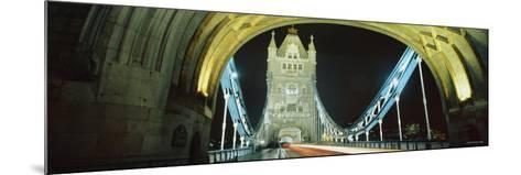 Bridge Lit Up at Night, Tower Bridge, London, England--Mounted Photographic Print